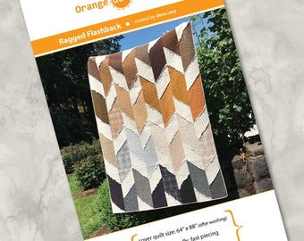 """Printed quilt pattern - """"Ragged Flashback"""" - easy to make, precuts, 10"""" squares - partially ragged, totally fun - supersized, modern design"""