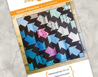 """Printed quilt pattern - """"Sense of Direction"""" - bold and modern quilt with a masculine vibe, large blocks, easy piecing technique, 72"""" square"""