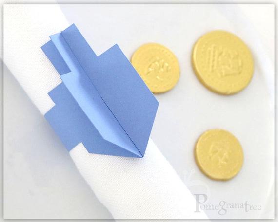 hanukah party paper napkin rings dreidel set of 10 etsy