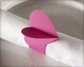 Pink Heart Paper Napkin Rings, Party Decorations Valentine's Day Wedding Decor Romantic Table Decor Flamingo Pink Napkin Rings Set of 4 HT11