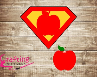 Super Teacher Apple- Cricut Explore - Design Space - Silhouette Cameo