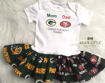 3f62417c2e9 Custom House Divided Bodysuit Dress ( 49ers-Packers) I Cheer For Both Teams  - any teams