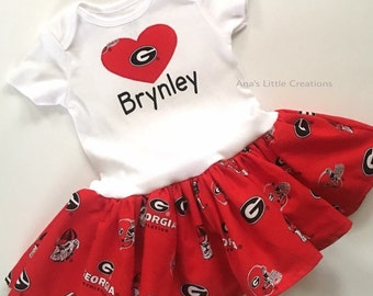 380cad7c Georgia Bulldogs Bodysuit Dress, Custom Personalized UGA Baby Girl Dress  with name, Personalized Bodysuit Dress with name