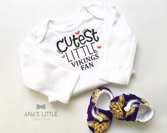 188908895d773 Custom Minnesota Vikings Baby Bodysuit and Shoes 2pc Set