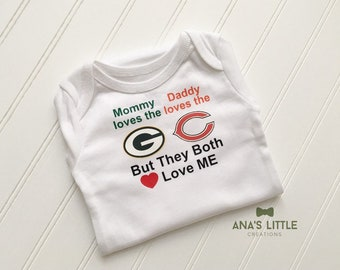 fa6976436de55b House Divided Bodysuit (Chicago Bears-Packers), House Divided Baby, Mommy  loves the Bears, Daddy loves the Packers - any teams