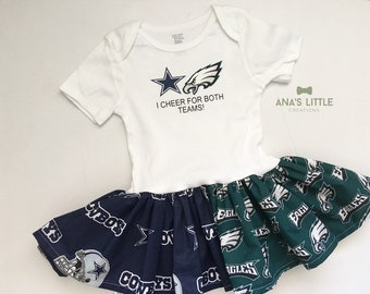 1ddfd3ca6 Custom House Divided Bodysuit Dress ( Philadelphia Eagles-Dallas Cowboys) I  Cheer For Both Teams