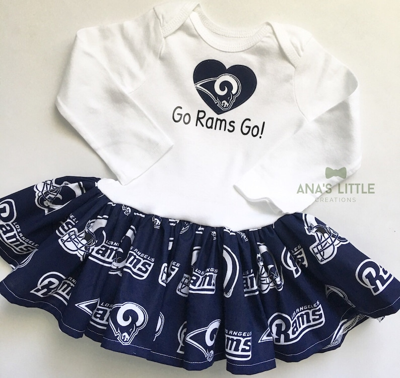 95fec2a66d4 Los Angeles Rams Baby Girl Dress with heart applique Go Rams