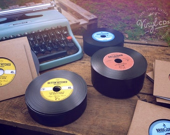 Vintage Vinyl Record CDs. Unique Wedding Invites & favors. Combo pack.