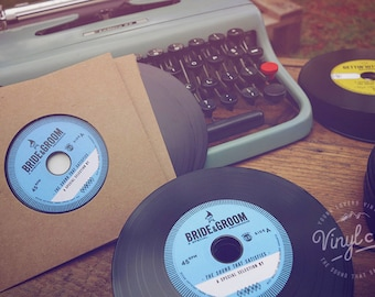 Custom Printed Vintage Wedding invites and wedding favours. Unique Vinyl CDs from the Bride & Groom - Blue label