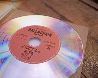 Fun Vintage Wedding favor & invite idea - Custom Vinyl CDs - Platinum // Red label