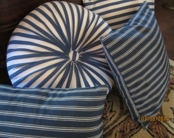 Navy blue and white woven ticking stripes pillow MODA fabric in 3 sizes
