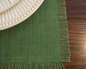 Grass green burlap placemats set of 4