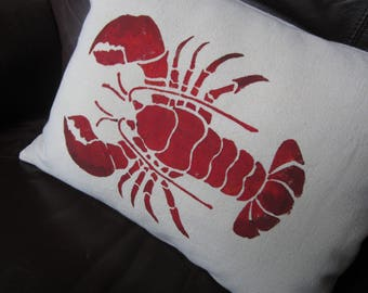 "Small 12x16"" red lobster throw pillow, hand stenciled"