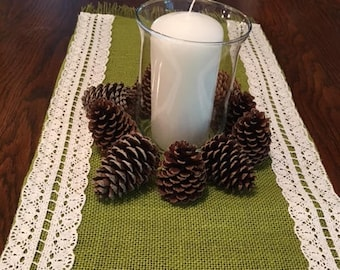 Green burlap table runner with crochet and fringe trim