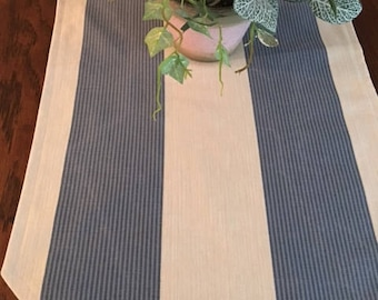 Blue and white striped, lined, table runner in soft cotton and poly blend