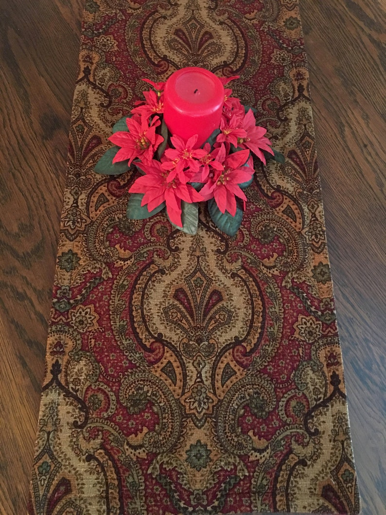 green with red felt reverse side gold two sizes Table runner in burgundy