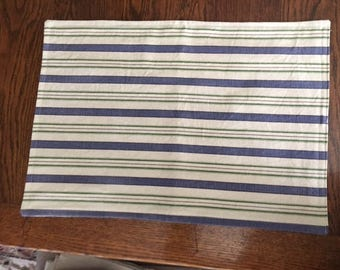 Set of 4 all cotton striped placemats in ivory, blue and green
