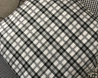 Throw pillow in black, gray, and white plaid, 16x16