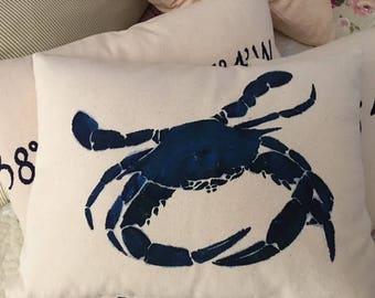 "Maryland blue crab throw pillow, 12x16"""