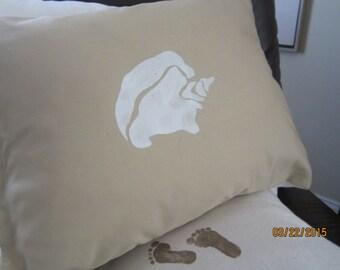 Seashell inspired beach themed reversible throw pillow, 12 x 16