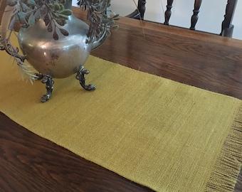 Versatile harvest gold burlap table runner in two sizes