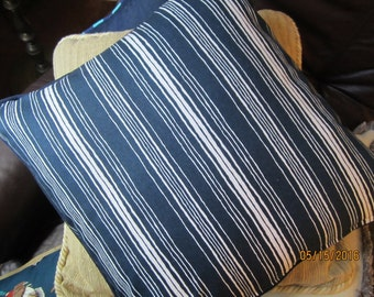 Blue and white striped throw pillow cover with navy blue cording