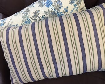 Striped cotton throw pillows in ivory, blue and green in 2 sizes