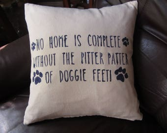 "Dog themed 16x16"" stenciled throw pillow"