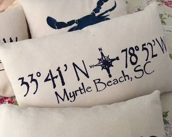 "Myrtle Beach throw pillow, hand stenciled 12x20"" on cotton canvas fabric"