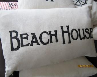 Beach themed throw pillow BEACH HOUSE stencil 12 x 20 inch easy care
