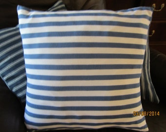 Blue and white striped soft cotton poly-blend knit fabric accent throw pillow 2 sizes