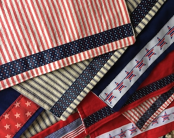 Small table runners in 4th of July/patriotic theme, various patterns/sizes