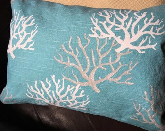 Small lumbar pillow, 12x16 or 12x20 in turquoise canvas/duck cloth with white/silver coral