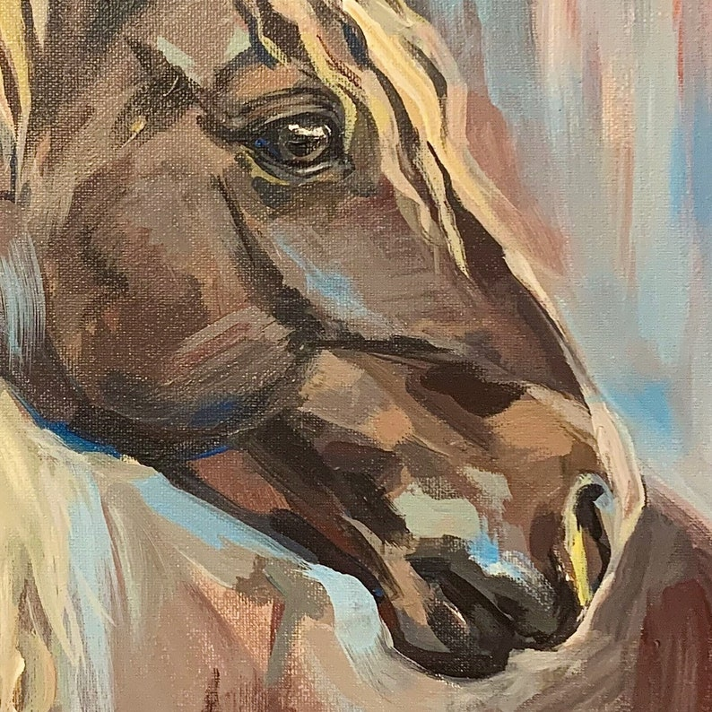 Custom Horse Portrait Painting Original Professional painting from photo Acrylics on Stretch Canvas Various sizes