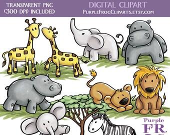 SWEET SAFARI - Digital Clipart, Clip art. 11 images, 300 dpi. jpeg, png files. Instant download.