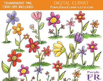 FLOWERS - Digital Clipart, Clip art. 11 images, 300 dpi. jpeg, png files. Instant download.