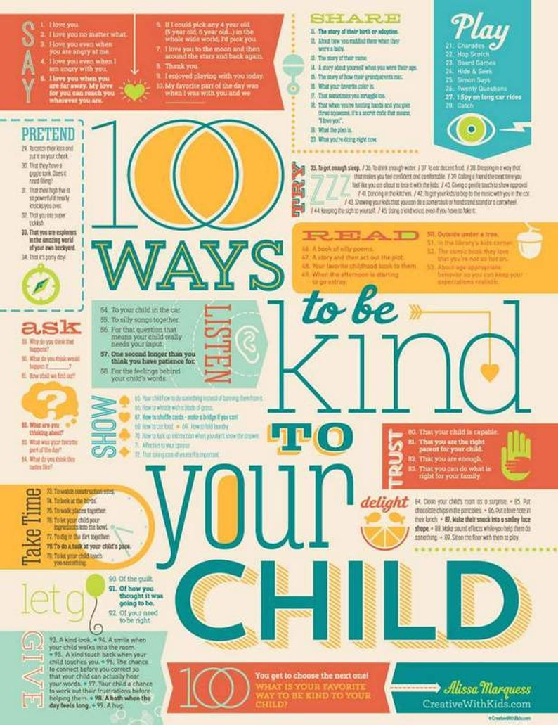 100 Ways to Be Kind to Your Child Print 18x24 image 0