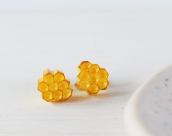 Yellow Honeycomb earrings , Honey bee jewelry, Polymer clay earrings
