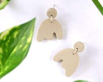 Sage green polymer clay earrings, Fun everyday earrings
