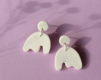 Minimalist White clay earrings with speckles, Handmade polymer clay earrings