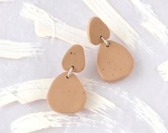 Minimalist beige earrings, Polymer clay earrings, Neutral tones everyday earrings, Handmade earrings