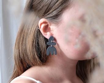 Black abstract shape earrings, Modern polymer clay earrings, Fun modern statement earrings