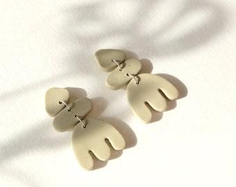Statement Polymer clay earrings, Sage green earrings