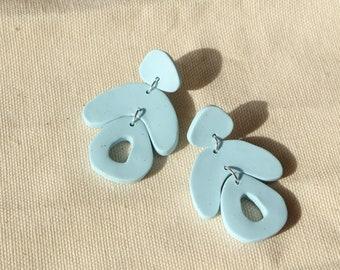 Sky Blue Geometric earrings, Statement polymer clay earrings, Large summer earrings