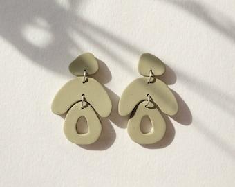 Large Sage green polymer clay earrings, Fun Geometric statement earrings