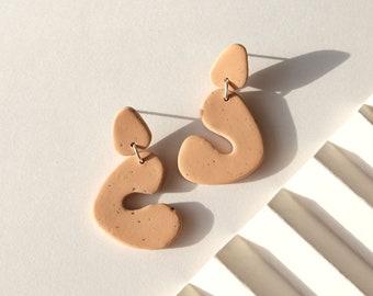 Minimalist geometric earrings, Modern polymer clay earrings, Natural beige tones, Minimalist Scandinavian style