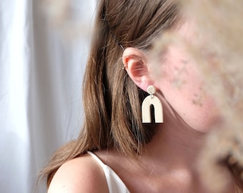 Beige Arch Earrings, Polymer clay earrings, Statement earrings with Sterling silver posts