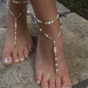 Ivory pears Turquoise beads bride bridesmaid barefoot sandals silver barefoot sandals.wedding barefoot sandals.bridal barefoot sandals