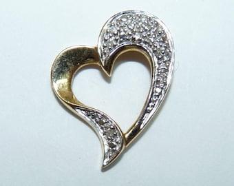 Elegant Vintage 14K Gold Marked, Stylized Heart-Shaped Pendant, L 2 cm