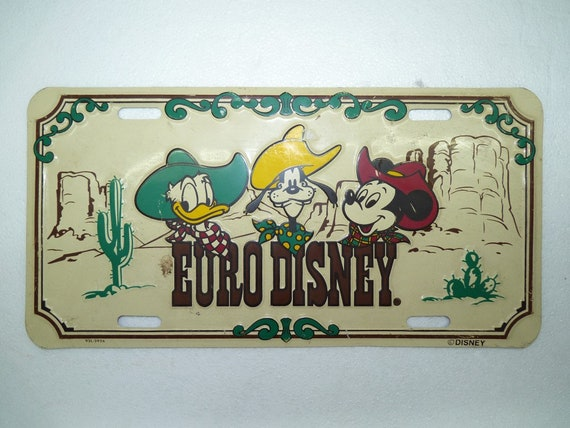 Vintage Colorful Usa American Car Number Plate Euro Disney Etsy